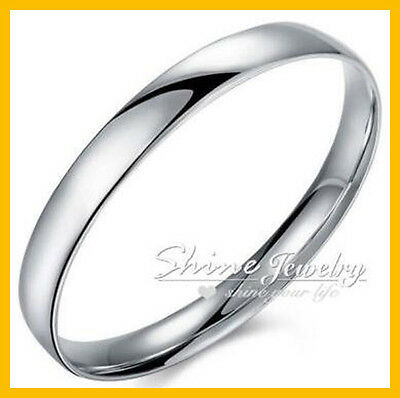 Solid 925 Sterling Silver 10MM Wide Plain Chunky Bracelet Bangle 65MM Lady Gift