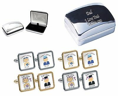 Wedding Cufflinks Personalised Name or Title IE Usher & Date. Groom Best Man etc