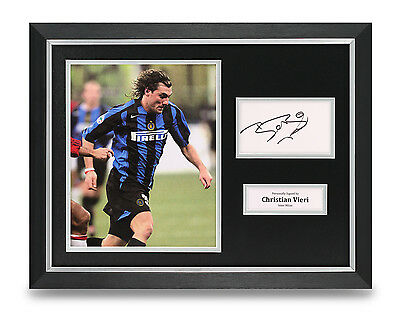 Christian Vieri Signed Photo Framed 16x12 Inter Milan Autograph Display + COA