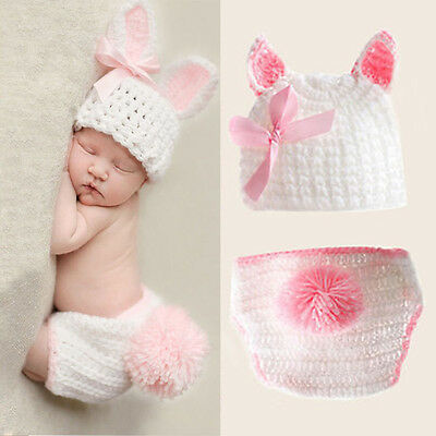 Newborn Baby Girl Knit Clothes Photo Crochet Costume Photography Prop Outfit UT