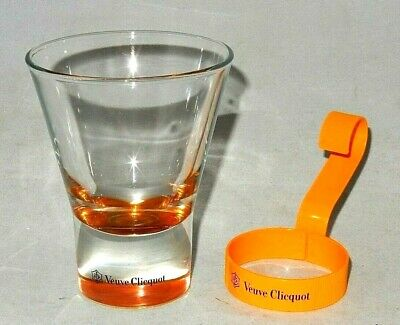 NEW ~ VEUVE CLICQUOT CHAMPAGNE 5 OZ. / 15cL GLASS TUMBLER & METAL SUPPORT HANDLE