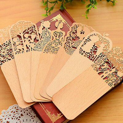 1x Vintage Wooden Hollow Bookmark Office School Students Supplies Gift Random CA
