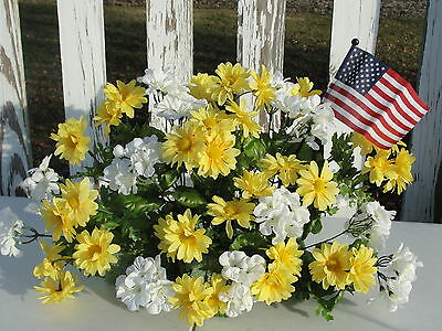 Summer Silk Flowers Cemetery Memorial Service Yellow Daisy White Geraniums