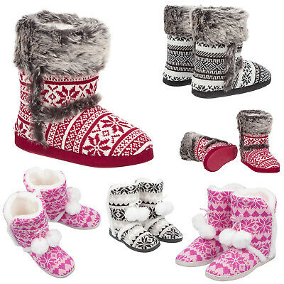 Ladies & Girls Knitted Bootie Slippers Size 3 to 8 UK  FAUX FUR LINED WARM BOOTS