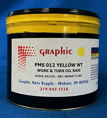 Pms 012 Yellow Offset Ink - Oil Base Work & Turn 1 X 5 Pound Can