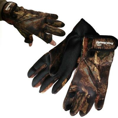 Pro Climate Camo Fishing Hunting Shooting Gloves Fold Back Fingers Sizes M L Xl