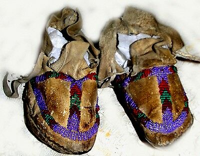 """Vintage Antique 5-7/8"""" Circa 1920 Navajo Indian Beaded Leather Moccasins"""