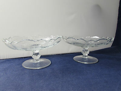 SET OF TWO - Heisey Crystal ORCHID Low Compotes
