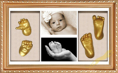 Baby Keepsake DIY 3D Casting kit 100% Safe & Shadowbox photo frame golden