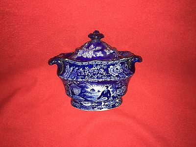 Historical Staffordshire Lafayette At Washington's Tomb Sugar Bowl By Mayer Rare