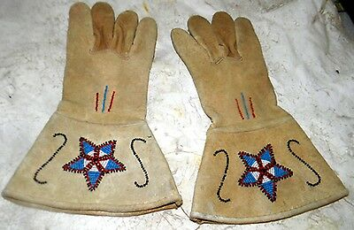 Vintage Antique Old Native American Beaded Leather Gauntlets Gloves
