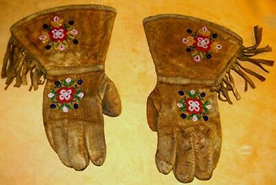 Vintage Antique 1800's Old West Native American Beaded Leather Gauntlets Gloves