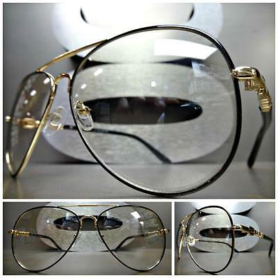 VINTAGE RETRO Style SUN GLASSES Gold & Black Frame Clear Lens with Slight Tint