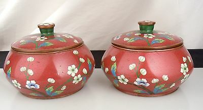 Pair Chinese Red Cloisonne Round Boxes