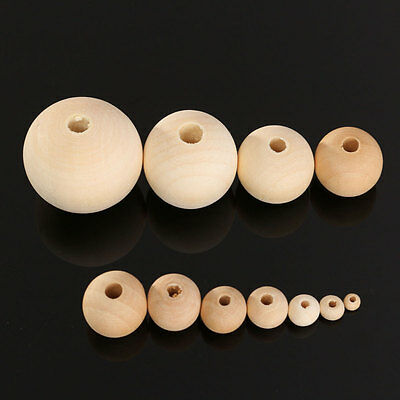 10X Round Rondell Wood Bead Spacer Natural Unfinished Wooden Necklace 4-30mm DIY