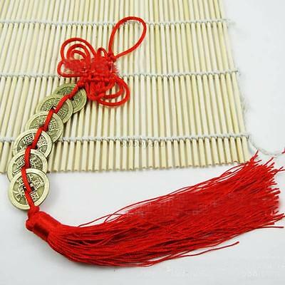 1 x Chinese 6 Emperors Coins with red Tassel Lucky Knought for Wealth Happiness