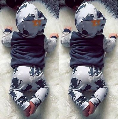 Stylish Baby Kids Toddler Boys Hooded Tops Pants Leggings Outfits Set Clothes