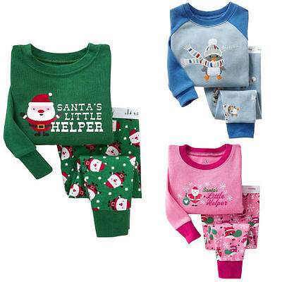Cotton Kids Baby Boy Girls Christmas Outfit Nightwear Sleepwear Pajamas Set 2-7T