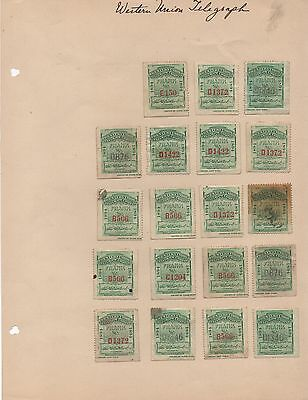 Lot of 19 Green 1894 U.S. Western Union Telegraph Company Stamps