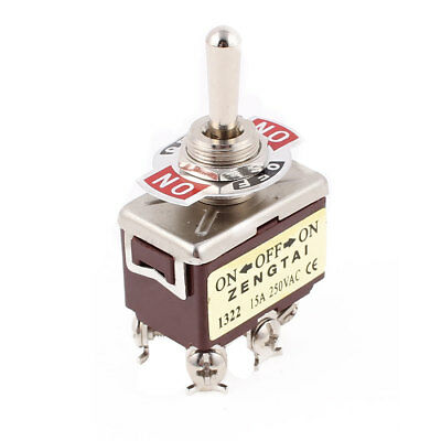 AC 250V 15A 6 Terminal ON-OFF-ON 3 Position DPDT Self-locking Toggle Switch