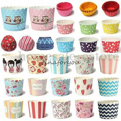 12~100pcs Christmas Cake Baking Paper Cup Cupcake Muffin Cases fit Home Party