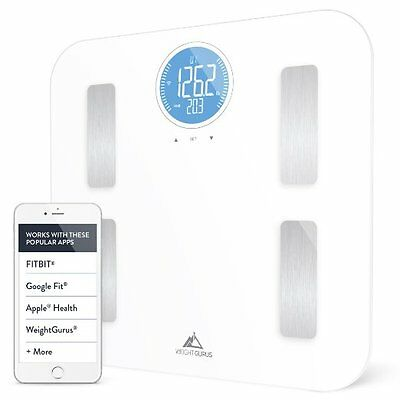 Weight Gurus Wifi Smart Connected Body Fat Scale with Large Backlit LCD (White +