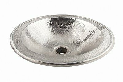 Silver Round Copper Handmade Moroccan Bathroom Sink Basin,Hammered Di 39 cm