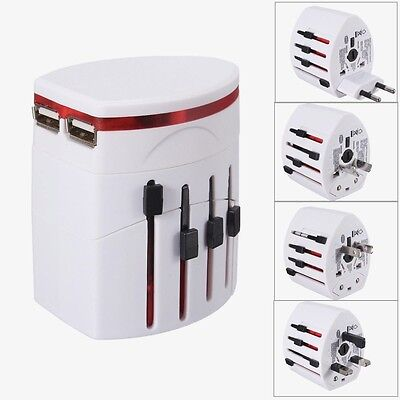 Universal Travel Adapter Plug AC/USB Power Adaptor + 2 USB Charger US/UK/AU/EU