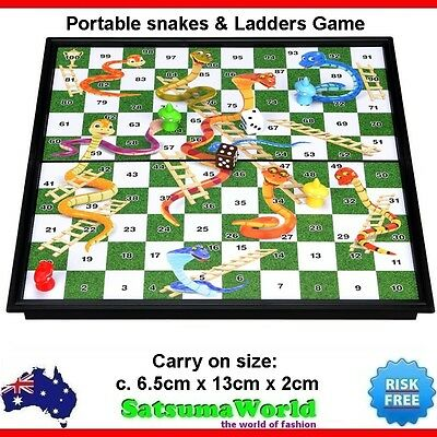 Portable Snakes and Ladders foldable travel game magnetic board carry on snake
