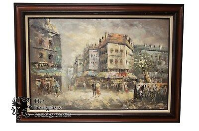 "44"" French Impressionist Oil Painting Paris Street Scene on Canvas Cityscape"