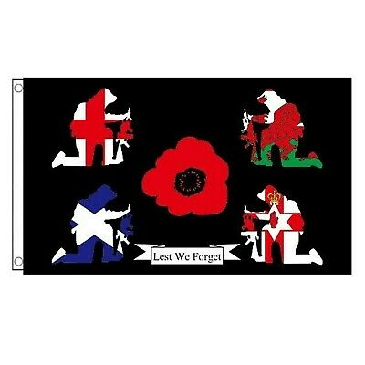 WW1 LEST WE FORGET BRITAIN REMEMBERS POPPY 5ft x 3ft FLAG **SPECIAL OFFER**
