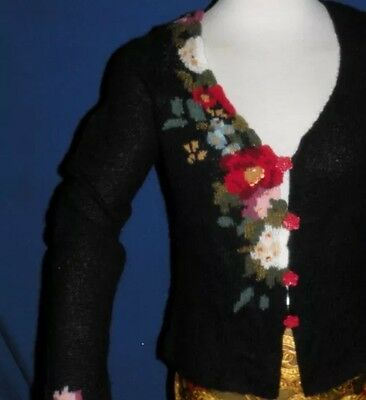 Anthropologie Guinevere Floral Red Roses Black Button Cardigan