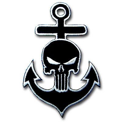 Anchor Punisher Skull Navy Sailor Marine Patch Embroidered Iron on Badge Sew MC