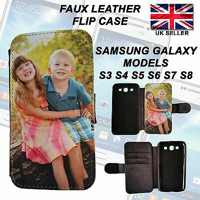 Personalised Phone Case Faux Leather Flip Case for Samsung Galaxy S3,4,5,6,7,8