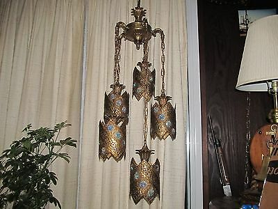 5 Brass Hanging Lamps 60 Stained Glass Prisms Decorative Arts Moroccan Antiques