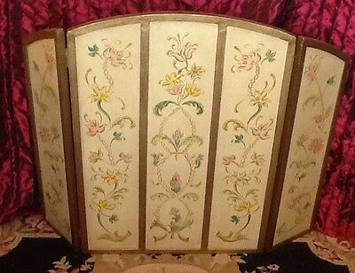 Fire Screen By Carrington  & Foss Heavy Arched Painted Flowers  Nice