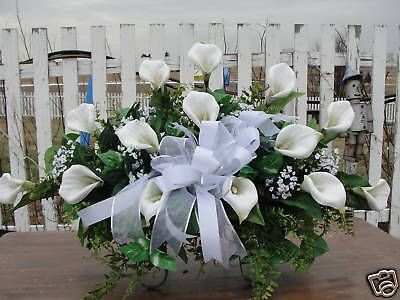 Mothers Day Calla Lilies Cemetery Grave Flowers Feathery Ferns Tombstone Saddle