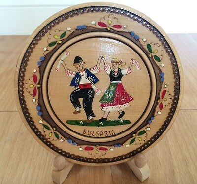 "Vintage BULGARIAN Decorative WOODEN PLATE Hand Painted Woodburned 6"" Diameter"