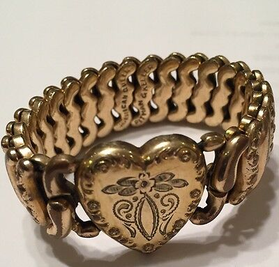 Art Deco WWII AMERICAN QUEEN gold Filled Sweetheart Expansion Bracelet