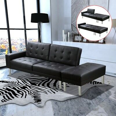 Modern Black Leather Sofa Bed 3 Seater Corner Lounge Suite Couch Chaise Recliner