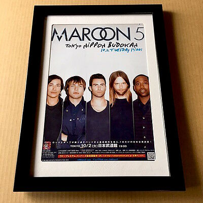 2012 Maroon 5 JAPAN tour concert flyer / mini poster / FRAMED great band photo