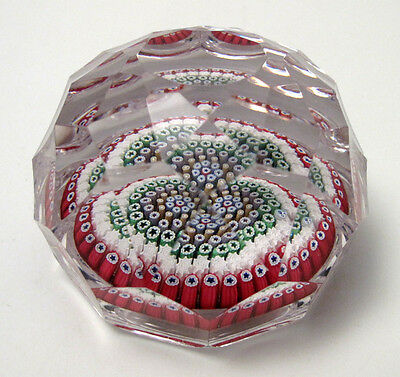 Whitefriars 1972 Monk Cane Close Concentric Millefiori Faceted Paperweight Label