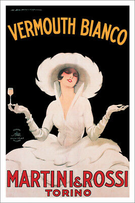VERMOUTH BIANCO VINTAGE POSTER (91x61cm) MARTINI ROSSI  TORINO NEW LICENSED ART