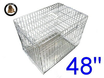 """Ellie-Bo 48"""" XXL Dog Puppy Pet Cage Folding Carrier Crate In Silver"""