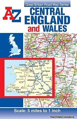 Central England & Wales Road Map Geographers A-Z Map Company Sheet map folded Ne
