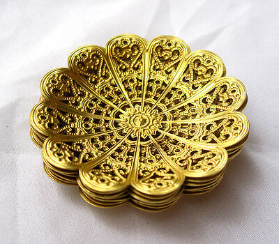 Round Brass Filigree Findings 52mm Beadcap for Fashion Design bf110(6pcs)