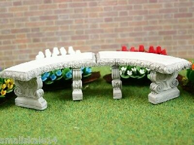 Dolls House Miniature 1/12th Scale 2 Curved Stone Garden Benches