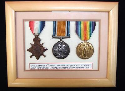 Ww1 British Army Killed In Action Medal Trio Pte Ramsay Northumberland Fusiliers