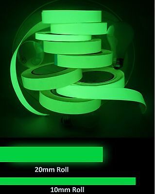 10mm / 20mm Self Adhesive Glow In The Dark Tape Photoluminescent Luminous Decor