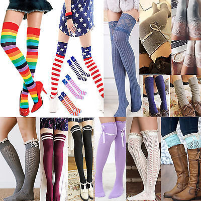 Women Winter Cable Knit Over Knee Long Boot Thigh-High Warm Socks Leggings 20#